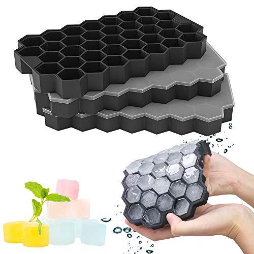 GoZheec 37 Fach Eiswürfelformen mit Deckel, 3 Stück Eiswürfelbehälter aus Silikon, FDA Zertifizierte Eiswürfelformen und BPA Frei, Ice Cube Tray Bier, Whisky, Fruchteiswürfel (Schwarz-3pack)