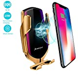 Survival-Pax Co. Smart Sensor Wireless Car Charger Mount, Automatic Clamping QC/QI 10W Fast Charging Car Charger Holder Compatible with iPhone 11/Xs/Xs Max/XR/X,Samsung Note 9/S9/ S9+/S8 etc (Gold)
