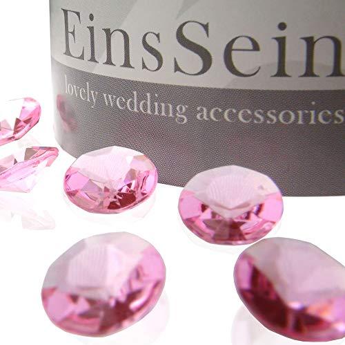 EinsSein 1000x Strooi Kristallen Tafel Diamanten bruiloft Acryl 12mm roze tafel diamant decoratie steentjes diamantjes clear crystal bruiloft feestje geboortefeest carnaval geboorte communie tafels