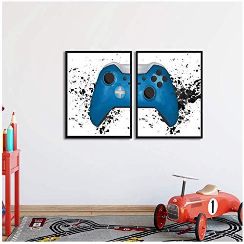 Gaming Wall Art Toile Peinture Photos Jeu Vidéo Geek Art Affiches et Impressions Mur Photos Gamer Cadeau Gaming Room Decor-50x70cmx2 pcs No Frame