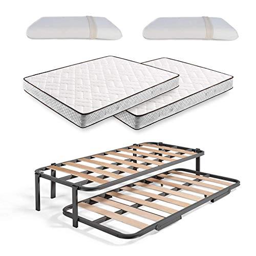 Cama Nido Metálica Reforzada con 6 Patas + 2 Colchones Flexitex + 2 Almohadas Viscoelásticas 100%, 80x200 cm