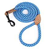 Mile High Life Correa de Cuerda de Perro de Escalada de montaña con Mango de Cuero(183 CM, Azul Cielo Azul cálido)