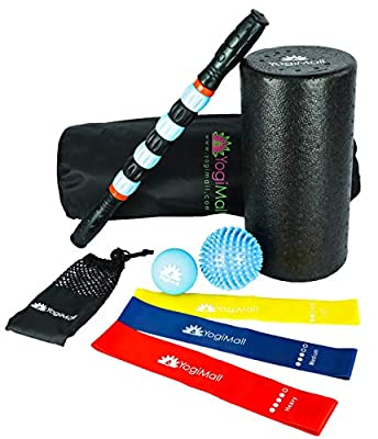 YogiMall All-in-One Massage & Fitness Home Exercise Kit – Foam Roller, Massage Stick, Lacrosse Ball, Spiky Ball, 3 Resistance Loop Bands and Bag for Total Body Deep Tissue Massage, Stretching & Yoga