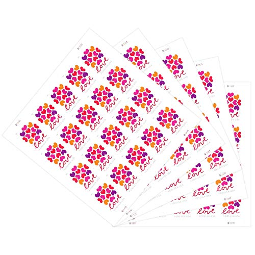 The News Stamps Love Heart Blossom Forever Postage Stamps Additional 10# Business Envelope (5 Sheet - 100 Stamps)
