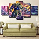 GFHFG 5 Pieces Prints On Canvas 5 Panels Wall Art Canvas Sci Fi Robot Paladins Hd Photo Artwork Home Decor Framed Floral Wall Art for Living Room Creative Gift (Size 60X32 Inch)