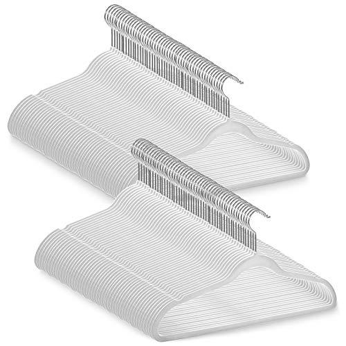 Casafield 100 Ivory Velvet Suit Hangers - Space Saving Non-Slip Chrome Swivel Hook for Dress Clothes Coats Pants Shirts Skirts