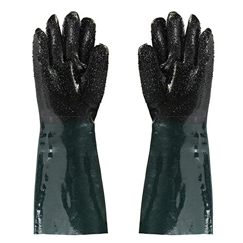 "Jewboer 19"" Rubber Sandblaster Sand Blaster Sandblasting Gloves for Sandblast Cabinets Safety Glove 48cm Length"