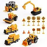 Vegena Bagger Sandkasten Spielzeug, 16 Stück Baufahrzeuge Set Betonmischer Lastwagen Kinderspielzeug Spielzeugauto Sandspielzeug für Kinder ab 3 Jahre Junge Mädchen, Metall Kunststoff