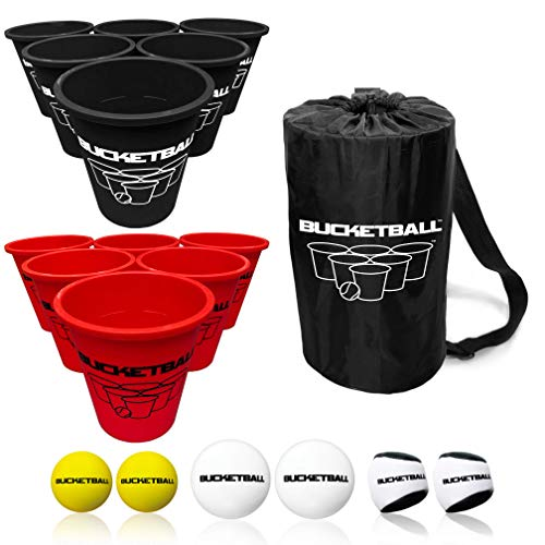 BucketBall - Team Color Edition - Combo Pack (Black/Red): Original Yard Pong Game: Best Camping, Beach, Lawn, Outdoor, Family, Adult, Tailgate Game