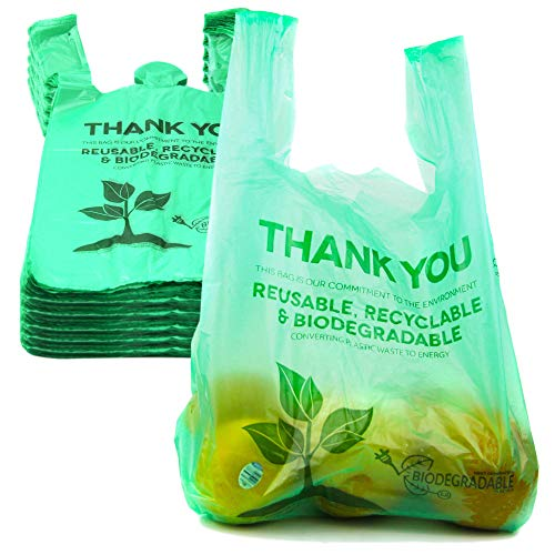 [500 Pack] 1/6 Size Biodegradable Reusable Plastic T-Shirt Bag Eco Friendly Compostable Grocery Shopping Thank You Recyclable Trash Basket Bags