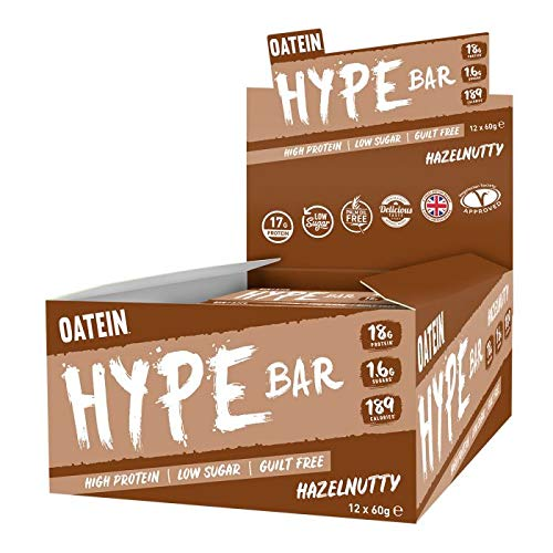 Oatein Hype (20 x 60g) Protein Bar, High Protein, Low Sugar, Guilt Free, Hazelnutty bar with 18g Protein, 1.6g Sugar and only 189 Calories