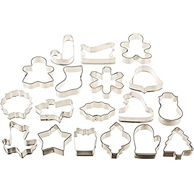 Wilton Christmas Holiday 18 pc Metal Cookie Cutter Set - Cookies, Fondant, Crafts, Soap, Dough and more!