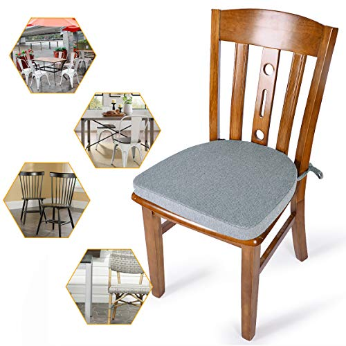 Shinnwa Chair Cushion with Ties for Dining Chairs [17 x 16.5 Inches] Non Slip Kitchen Dining Chair Pad and Seat Cushion with Machine Washable Cover - Light Gray