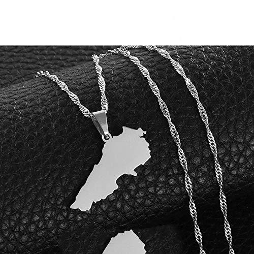 Collar De Mapa,Collar De Mapa, Diseño Vintage, Unisex, Líbano, Contorno Irregular, Plata, Mapa, Colgante, Collar, Encanto Étnico Único, Joyería Brillante para Mujer, Hombre, Viaje, Regalo Conme