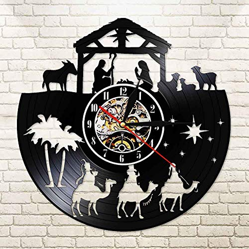 FDGFDG Menino Jesus Religiöser Glaube LED-Uhr Inspirational Faith Vinyl Wanduhr Nachtlicht Lampe Vintage Christian reloj de pared