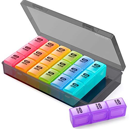 PortaPillole Settimanale (ITALIANO), SUKUOS 7 Giorni Pill Box con 21 Scomparti per Mattino, Pomeriggio, Sera, Pill Organizer 3 Volte (Nero)