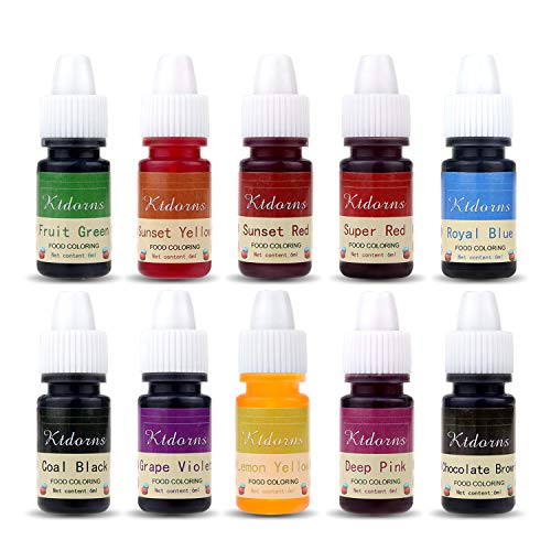 Food Coloring - 10 Color cake food coloring liquid Variety Kit for Baking, Decorating,Fondant and Cooking, Slime Making Supplies Kit - .25 fl. oz. (6ml) Bottles