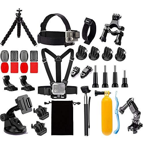 Mugast Kit di Accessori per telecamere Sportive, 48 in 1 Accessori per Action Cam da Esterno per Gopro Hero 7 6 5 / Session 4 3+ 3 SJCAM Xiaoyi per Viaggi di Surf
