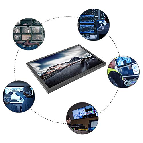 14 Zoll Embedded Monitor, 16: 9 1920 * 1080 Kapazitiver Touchscreen Tragbar Monitor mit BNC/VGA/HDMI/AV Touch USB für Baumaschine/medizinische Geräte(EU-Stecker)