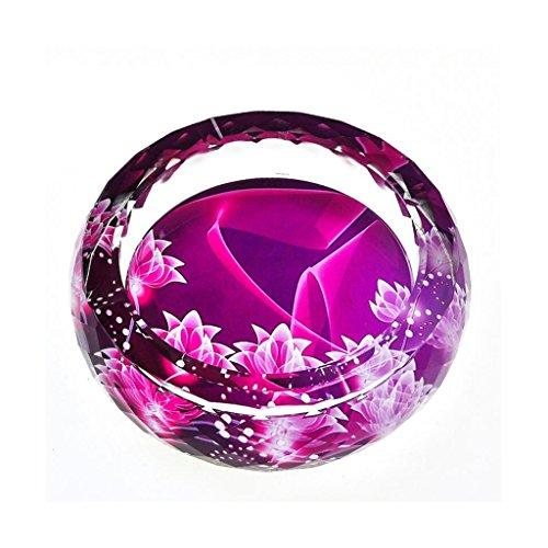 cendrier Xuan - worth having 3D Happy Lotus Pattern Color Printing Style cristal rond en verre Accueil Décoration de salon (taille : 20 cm)