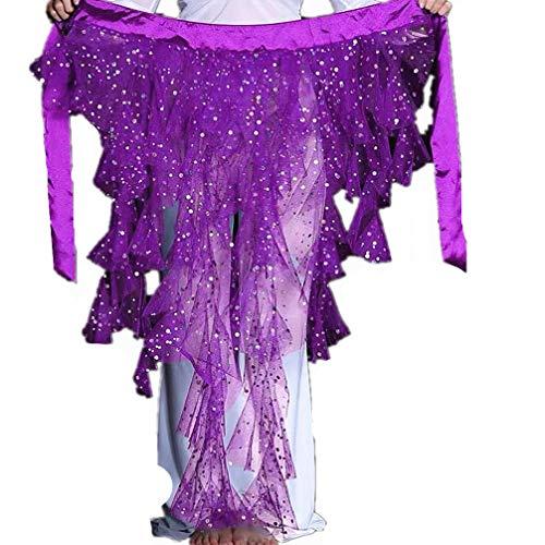 2021 Gauze Sequin Belly dance Hip Scarf Wrap Belt Pole Dancing Wrap(Purple)