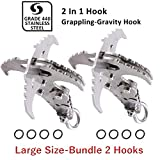 GearOZ Gravity Grappling Hook, 2-Pack Folding Survival Claw Gravity Hook Stainless Steel for Outdoor Hunting Tree Mountain Climbing Camping Tool