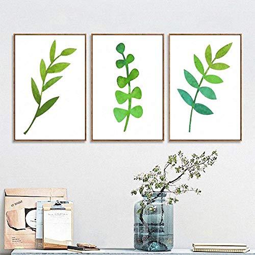EJCNCL DREI aufeinanderfolgende HD-Dekorationsbilder (50 cm * 70 cm * 3 Teile) mit Rahmen Pflanze Wohnzimmer Schlafzimmer Büro Hotel Restaurant Café Wandkunst Poster