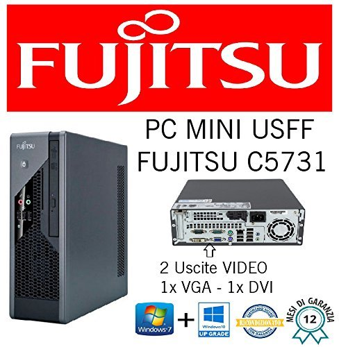 Mini PC Slim Fujistu C5731 E8400 3.0 GHz/RAM 4 GB/HD 250 GB/DVD + RW/Win 10 Pro (ricondizionato Certificado)