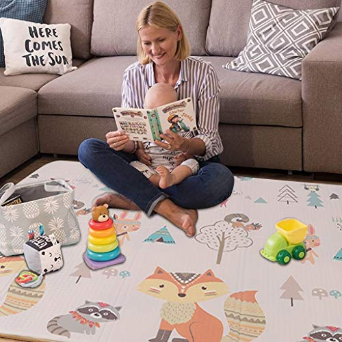 "Folding Play Mat |【Easy to Clean, Fold Up】BPA Free Non-Toxic Foam Baby Playmat 79"" x 71"" x 0.4"" Thick Extra Large Reversible Crawling Mat Portable Toddlers Kids Waterproof Non-Slip Activity Tummy Tim"