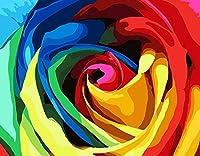油絵数字キットによる絵画デジタル絵画油絵数字キットによる絵画手塗りDIY絵デジタル油絵塗り絵 - カラフルなバラ 40x50cm(フレームなし)