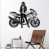 Tianpengyuanshuai Cool Motocicleta Etiqueta de la Pared Impermeable Sexy Mujer Etiqueta de la Pared Accesorios de decoración del hogar Sala de Estar Ventanas de Oficina -50x42cm