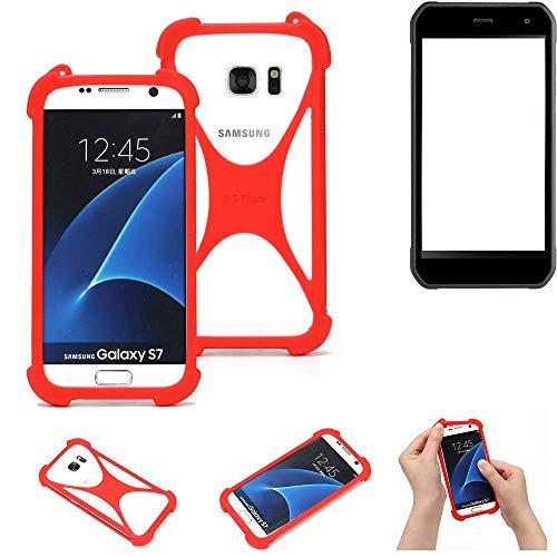 K-S-Trade® Handyhülle Für Cyrus CS 40 Schutzhülle Bumper Silikon Schutz Hülle Cover Case Silikoncase Silikonbumper TPU Softcase Smartphone, Rot (1x)
