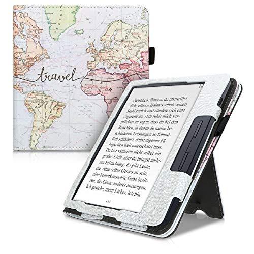 kwmobile Funda Compatible con Kobo Libra H2O - con Agarre elástico y Soporte de Apoyo - Mapa Mundial Negro/Multicolor