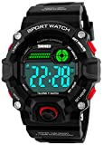 Men Sport Watch Talking Music Alarm Snooze LED Digital Watches Outdoor Military Shockproof Luminous Watch (Red)