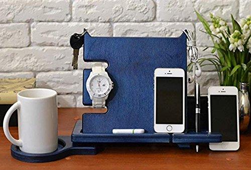 whitewhale Holz Dockingstation, Schreibtisch Organizer für Smartphone, Tablet, Armbanduhr, Geldbörse, Shades, Schlüssel Münzen, handgefertigt Herren 's, holz, blau, keine