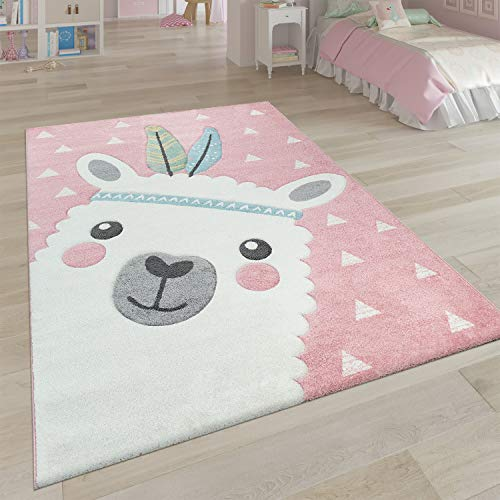 Tapis Enfant Chambre Enfant Aspect 3D Adorable Alpaga Design Tons Pastel en Rose, Dimension:80x150 cm