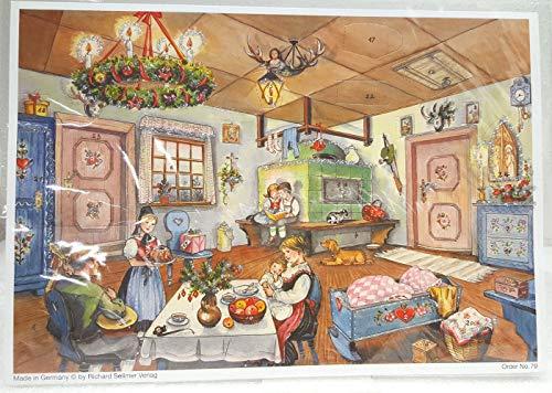 Adventskalender 24 deuren 297 x 210 mm - Sneeuwscène Kerstmis in de Keuken - met glitter en doorschijnende ramen - RS79 - traditioneel antiek Duits design