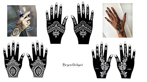 Tattoo Plantillas 6unidades para un solo uso para manos Indiya 6