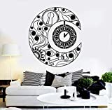Tianpengyuanshuai Vinilo Decorativo extraíble Etiqueta de la Pared símbolo de la Luna Creciente Reloj sueño Arte Pegatina 63X72cm
