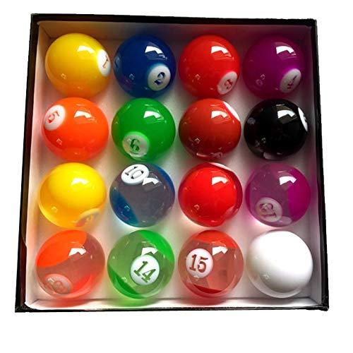 LSB-TAIQIU, 1set Komplett-Set Transparent Buntes Billard Ball 57.25mm International Standard Pool Spielbälle Harz for Billard