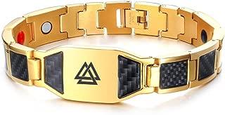 Viking Jewelry Valknut Symbol Odin Carbon Fiber Magnetic Therapy Bracelet Men,Free Remove Tool