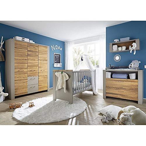 Babyzimmer f. Zwillinge Tokio Set 3 taupe wildeiche geölt 9tlg. Komplett Baby