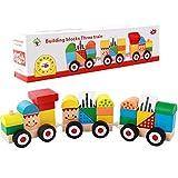 CORPER TOYS 木製パズル 積み木 型はめ 遊び 列車おもちゃ 引っ張る車 形合わせ 形認識 組み立て 男の子 女の子 カラフル 車おもちゃ クリスマス プレゼント