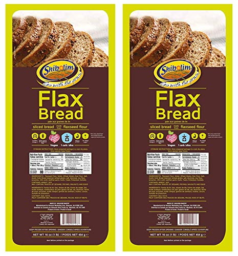 Shibolim FlaxSeed Bread 1lb (2 Pack) Low Carb, Only 1 Net Carb Per Serving, Keto Friendly, Rich in Fiber & Protein, Vegan, Certified Kosher, Contains Omega 3, Zero Grams of Sugar