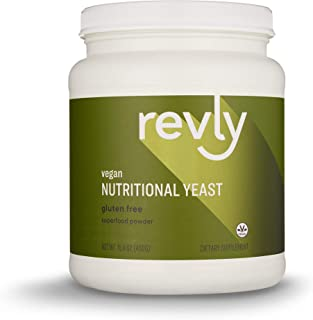 Amazon Brand - Revly Vegan Nutritional Yeast Non-Fortified Superfood 15.9 Oz. Powder - 6g Protein, Amino Acids, Vitamins, Minerals - 30 Servings