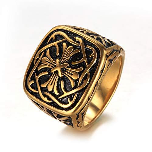 ZhongDa Ring, Edelstahlschmuck, Herrenring, Vintage Kreuzmuster Titan Stahlring