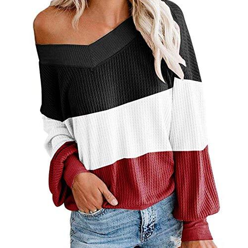 Shirt Damen Top Damen Langarmshirt Farbblock Langarm T-Shirt Casual V-Ausschnitt Tops Mode Lockere Und Bequeme Damen Freizeitshirt Herbst Neu A-Black XL