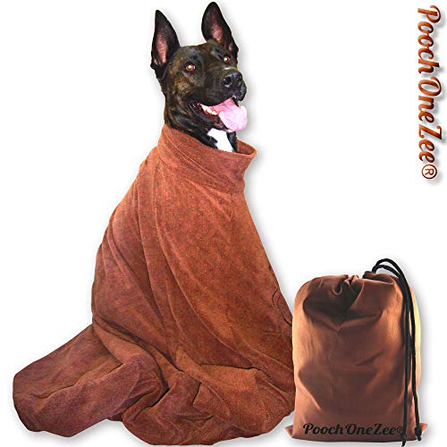 PoochOneZee Dry Fast Dog Bag - Water, Mud and Dirt Super Absorbent  Microfibre Solution with Thick Hook and Loop Neck Strap Brown (large)
