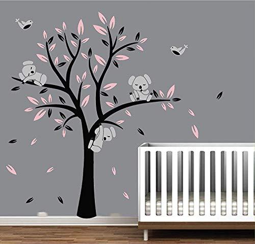 Bebé Árbol Koala Pared Pegatinas y murales,Vinilo Adhesivo Infantil Pegatina Pared para Dormitorio Sala habitación Guardería infantil Bebé decoración (Black,Pink)
