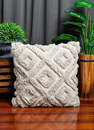 IMPEXART PVT LTD Kissenbezüge 20 x 20 Elfenbein dekorative Baumwoll-Kissenbezüge Diamond Shaggy Pattern Kissen für Sofa & dekorative Kissen für Bett, Wohnzimmer